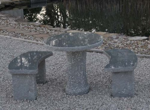 (Oval Charcoal Granite Stone Table)