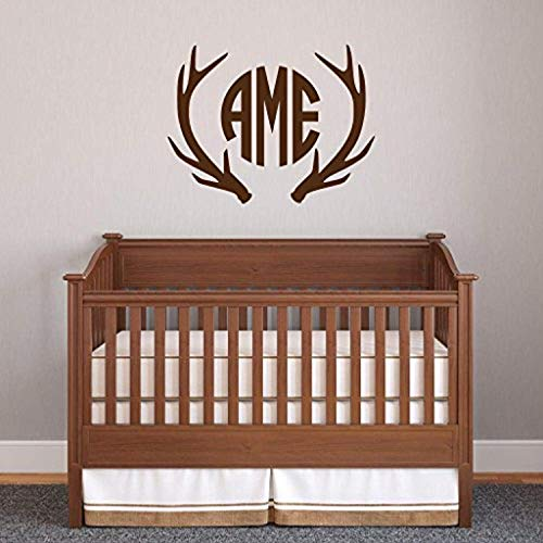 Deer Antlers Monogram Hunters Boys Bedroom Personalized Antlers Three Initial Circle Font Monogram Country Wall Decals Decor Vinyl Sticker SK14722