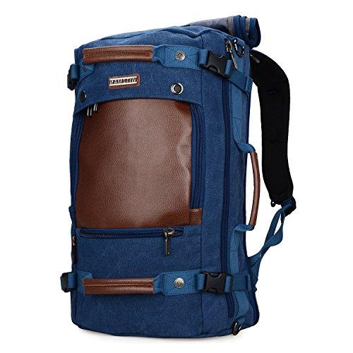 WITZMAN Men Travel Backpack Canvas Rucksack Vintage Duffel Bag A2020 (BLUE)