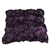 GREEN FABWOOD Purple Satin Rose Flower Square Pillow Cushion