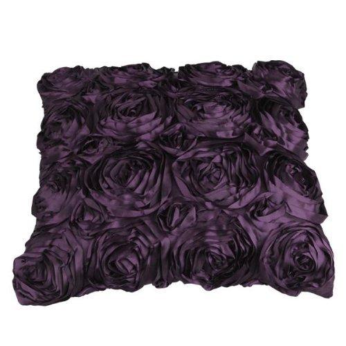 JISTL Purple Satin Rose Flower Square Pillow Cushion