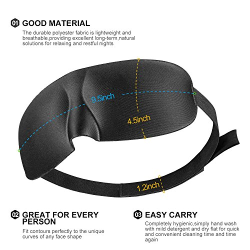 SLDHR 3D Comfortable Sleep Mask 100% Silk   Super Soft Eyes Sleeping Goggles   Perfect for Travelling, Nap, Mediation or Yoga, with Ear Plugs, Portable Case