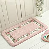 Bathroom Mats Pink Sytian Decorative Super Soft Floral Design Rural Style Pretty Rose Pattern Non Slip Absorbent Shaggy Area Rug Carpet Doormat Floormat Bath Mat Bathroom Shower Rug (15.75*23.62 Inch) (Pink)