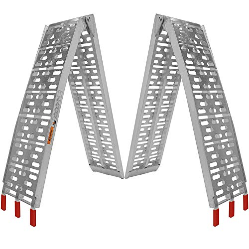 BlueField Loading Ramps 2 Pack Heavy Duty Aluminum Folding Ramps Arched Ramps for ATV Pickup Trucks Lawn Mower Golf Carts Garden Tractor (1200lb Capacity)