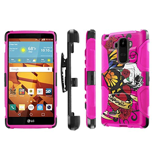 LG G Stylo [LS770 H631] Armor Case [NakedShield] [Black/Pink] Heavy Duty Armor [Holster with Kickstand] Phone Case - [Pink Butterfly Skull] for LG G Stylo LS770 -  NakedShield for LG G Stylo, P-LGLS770-1E7-BKHP-CBT-N149
