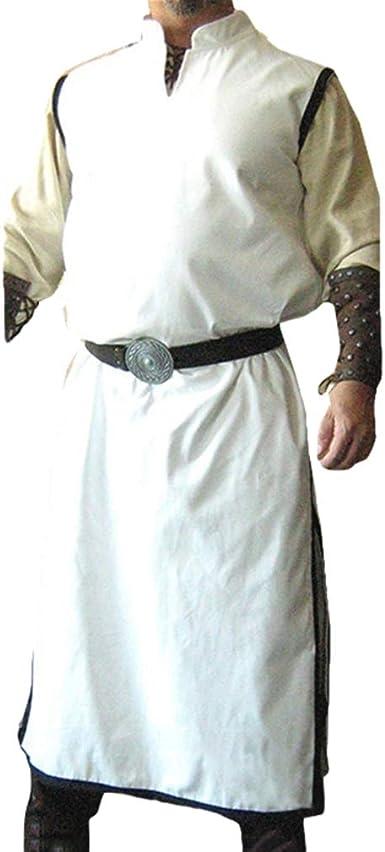 Hombres Medieval Túnica - Renacimiento Victoria Camisa Cuello en V Sin Mangas Pirata Shirt Vintage Vikingos Étnico Shirt Tops Sin Cinturón: Amazon.es: Ropa y accesorios