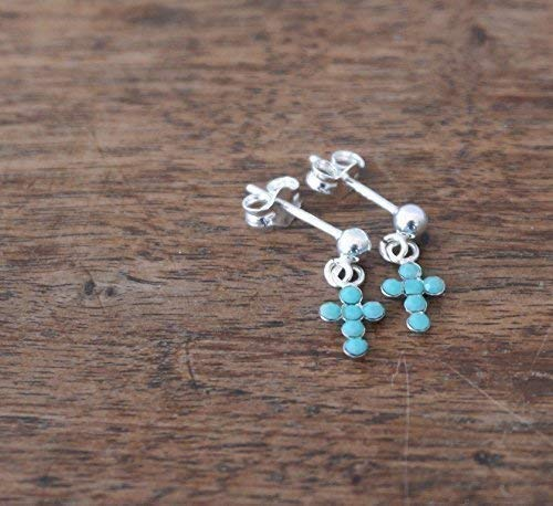 (Small Sterling Silver Cross earrings featuring opaque turquoise Swarovski crystals)