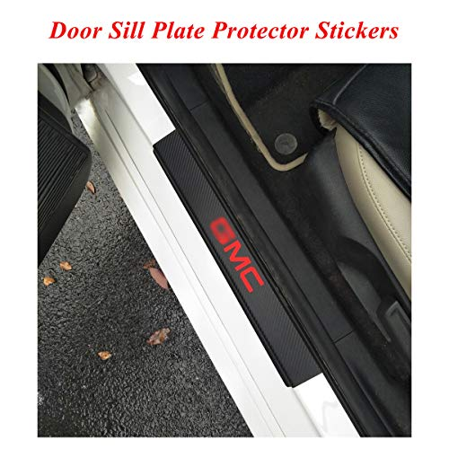 Gmc Yukon Door Sill Plate - Universal door Sill Scuff Plate Protector Stickers with GMC logo, Door sill plate protector film stickers, Door sill entry guards protector stickers for GMC TRUCK SUV Swegon YUKON SAVANA SIERRA Red