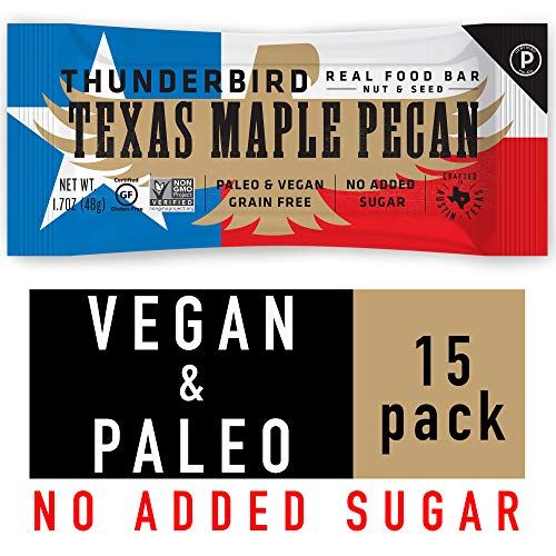 Pecan Maple Bar - Thunderbird Paleo and Vegan Snacks - Real Food Energy Bars - Nut & Seed - Box of 15 - No Added Sugar, Grain and Gluten Free, Non GMO (Texas Maple Pecan)
