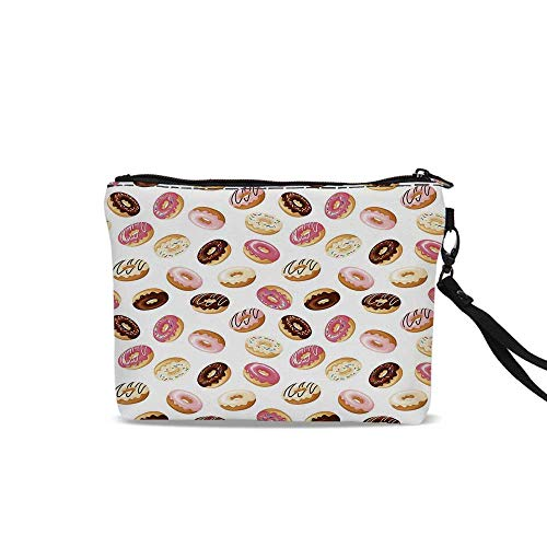 - Food Decor Female Cosmetic Bag,American South Calssic Police Breakfast Fast Food Dessert Donuts Art Print For Women Girl,9