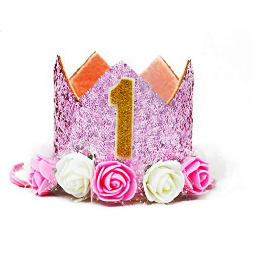 MOO&NOO Dog Birthday Hat for Girls Happy Birthday Tiara Crown with Rose Flowers and Gold Glitter 0-9 Figures for Party(Pink)