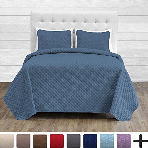 Bare Home Premium Diamond Stitched 2 Piece Coverlet Set - Ultra-Soft Luxurious Lightweight All Season Bedspread (Twin/Twin XL, Coronet Blue)