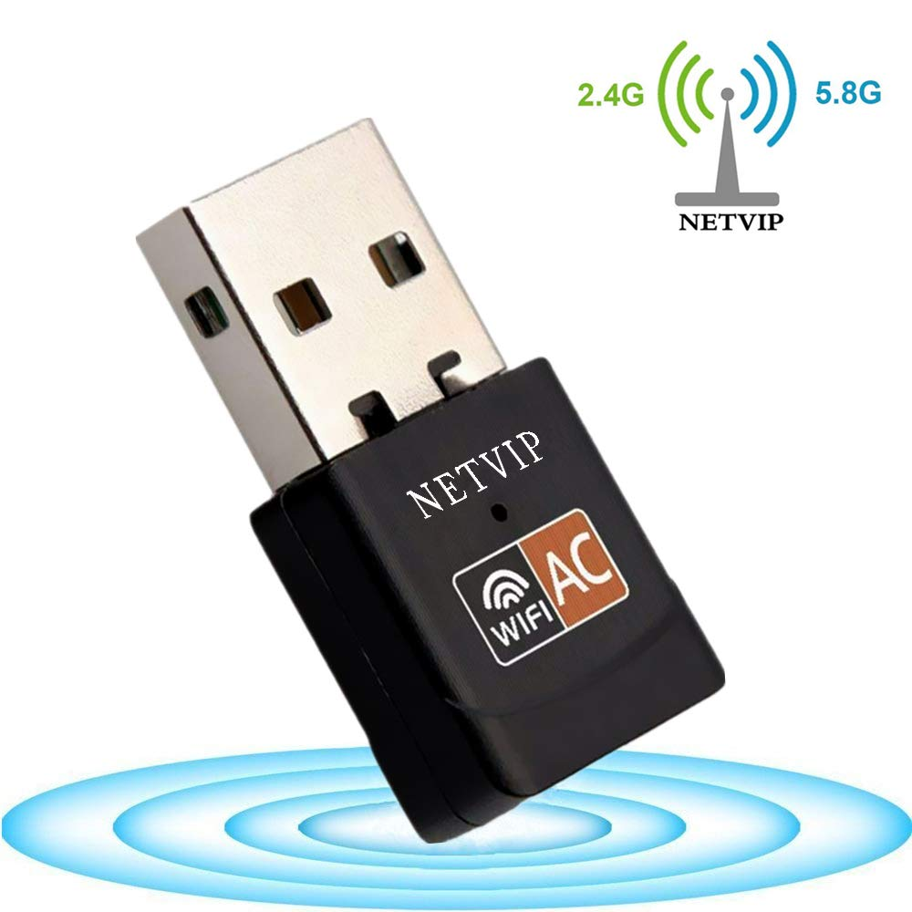 Mini WiFi Adapter 600Mbps, Wireless WiFi Dongle for Laptop, USB Network LAN Card with Internal High gain Antenna Dual Band Wireless Network for Desktop/PC, Works with Windows XP/Vista/7/8/10/Mac OS X by NETVIP