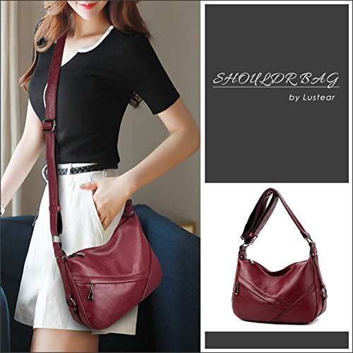 Style Hobo Bag Wine Red Bags Leather Shoulder Soft Lustear Ladies OYqpTg