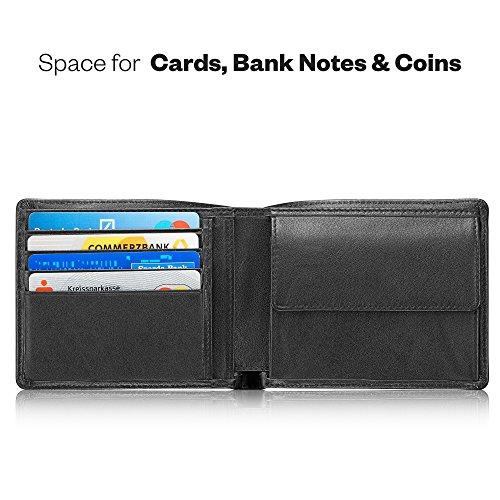 """KAVAJ Geldbörse Portemonnaie Echtleder """"Stockholm"""" Schwarz mit RFID-Blocker Kleiner Geldbeutel Portmonee aus echtem Leder Brieftasche im Querformat"""
