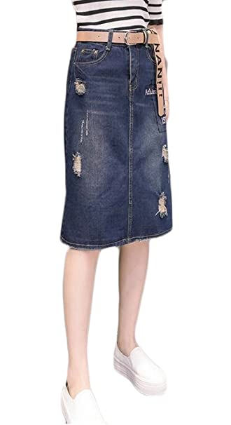 6b2d3c19b4f1 ainr Woman Vintage Distressed Washed Cotton Denim H-line Mini Skirt at  Amazon Women's Clothing store: