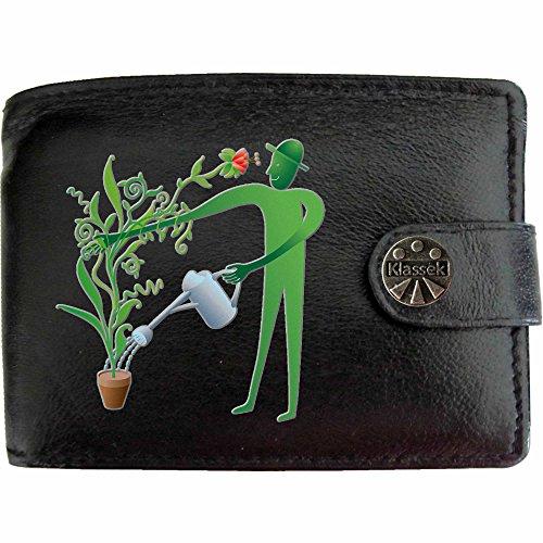 Gardener Green Finger Gärtner grüne Mann Klassek Herren Geldbörse Portemonnaie Brieftasche aus echtem Leder schwarz Geschenk Präsent mit Metall Box