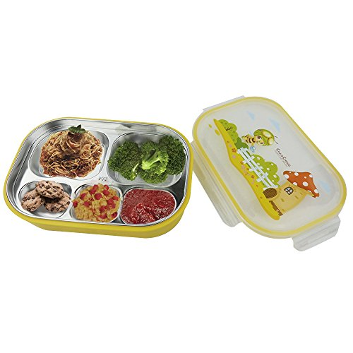 HOMMP Stainless Steel Lunch Box for Student, 5 Compartments, Yellow, F