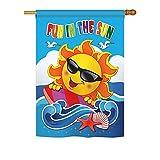 Breeze Decor – Fun in the Sun Summer – Seasonal Fun In The Sun Impressions Decorative Vertical House Flag 28″ x 40″ Printed In USA For Sale
