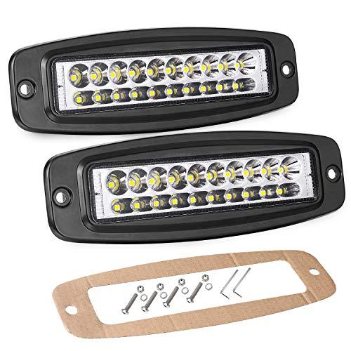 - Flush Mount LED Pods Lights, Wayup 2Pcs 7'' 80W Off Road Fog light Driving Light Slim LED Work Light Bar Dual -row Spot Light For Truck Jeep Backup 4x4 Boat SUV Cars Grill Mount, 2 Years Warranty