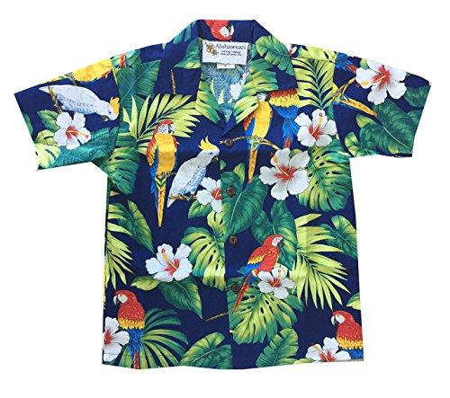 Made in Hawaii ! Boy's Tropical Parrot Hawaiian Luau Cruise Aloha Shirt (10, Navy) (Kids For Hawaiian Clothing)