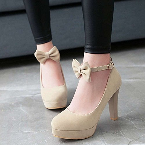 SJJH Court Shoes with Suede Materail and Cute Bowtie Large Size Avaible Dressy Shoes Beige V3TZqf