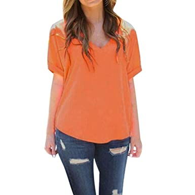 02cb416f2c5784 Staron Women s Tops V Neck Short Sleeve Solid Shirts Loose Casual Tee T-Shirt  Blouse