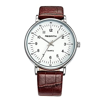 REBIRTH Lady's Luxury Dress Styles Abric Numerals Quartz Movement Wrist Watch Leather Band