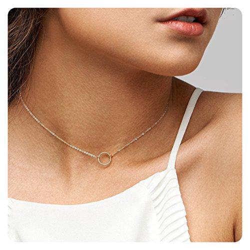 Fremttly 14k Gold Fill Dainty Choker Circle Necklace • Open Circle Chain Choker (14k Gold Circle Necklace)