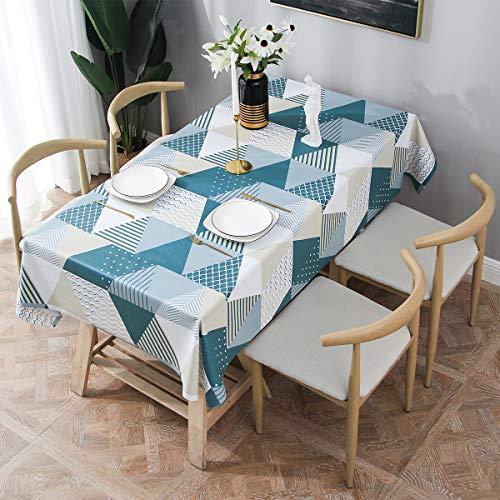 Essort Rectangle Mantel para Mesa PVC Hule Mantel Cuadrado para Comedor, Impermeable y Prueba de Aceite Geometrico 137 x 185 cm