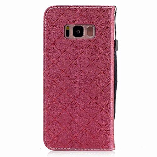 Yiizy Samsung Galaxy S8 Custodia Cover, Amare Design Sottile Flip Portafoglio PU Pelle Cuoio Copertura Shell Case Slot Schede Cavalletto Stile Libro Bumper Protettivo Borsa (Rosso)