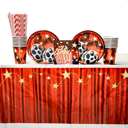 Hollywood Lights Beverage - Hollywood Lights Party Supplies Pack for 16 Guests: Straws, Dessert Plates, Beverage Napkins, Table Cover, and Cups