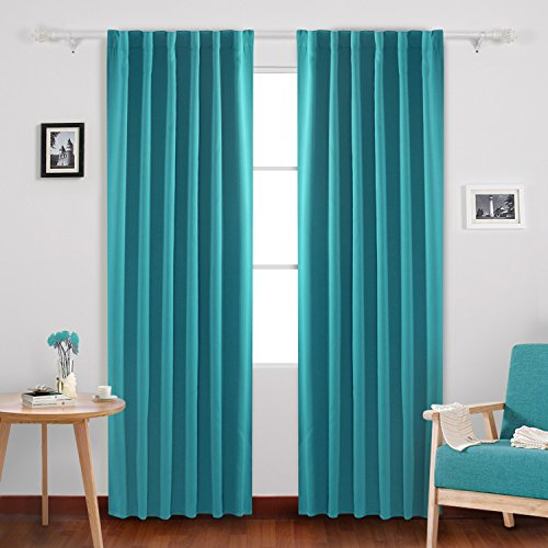 Incroyable Deconovo Solid Back Tab And Rod Pocket Room Darkening Shades Insulated  Thermal Window Coverings Blackout Curtains For Bedroom 52x84 Inch Turquoise  2 Panels