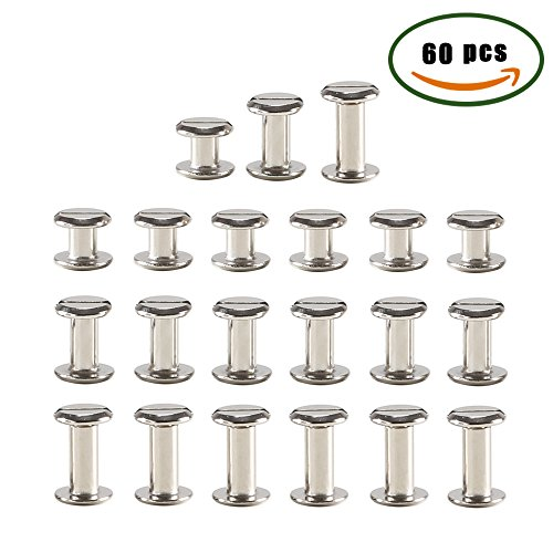 ManYee 60 sets Chicago Binding Post Screws Stainless Metal Stud Screw Phillips Cross Head Belt Screw Rivets for Leather Bolt Nut Barrel Studs Nail Rivets DIY 1/4 (6mm) 3/8 (10mm) 1/2 (12mm)
