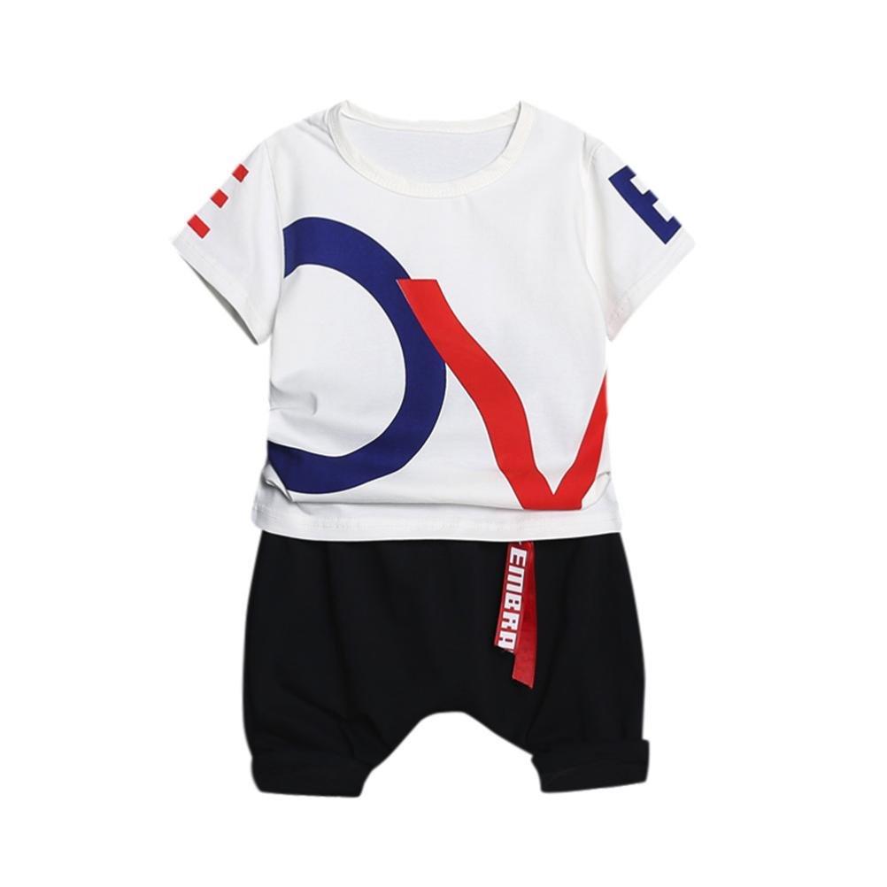 BYSTE bambino lettera stampa Manica corta Estate Gilet Camicie Pullover Felpa camicia T-shirt Tops + Bambini pantaloni corti pantaloncini 2pcs