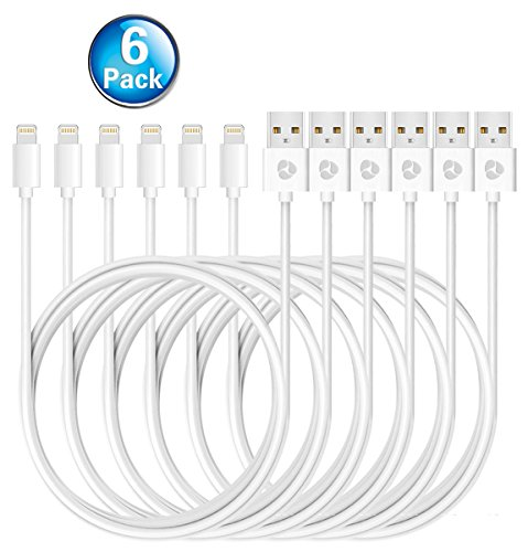 Antopos iPhone Charger 3 Feet Lightning Cable Sync and Charging Cord for iPhone iPad and iPod (6 Pack)