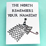 Funny Happy Birthday Card, Funny Game of Thrones Birthday Card - The North Remembers Your Nameday - Happy Little Things - Folded Greeting Card with Envelope, Blank Inside