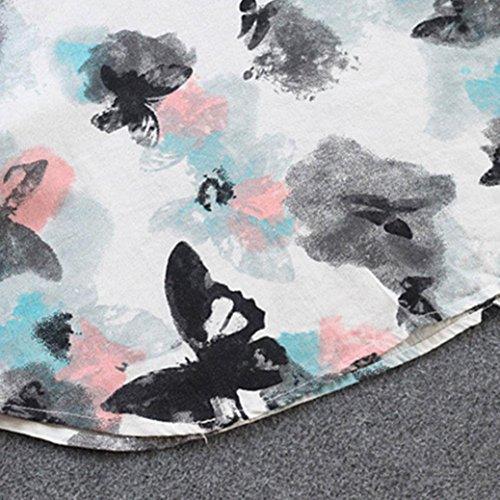 Damen Weiß Lässige Ärmel Knopf Lange Minikleid Mcys Schmetterling Elegant Strandkleider Blumendruck
