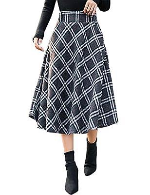 IDEALSANXUN Women's Wool High Waist Plaid A-line Skirt