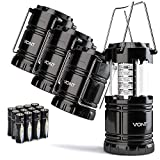 LED Camping Lantern - Vont 4 Pack LED Camping Lantern, Survival Kit for Hurricane, Emergency, Storm, Outages, Outdoor Portable Lantern, Black, Collapsible (Batteries Included)
