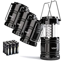 Vont 4 Pack LED Camping Lantern, LED Lantern, Suitable for Survival Kits for Hurricane, Emergency Light, Storm, Outages…