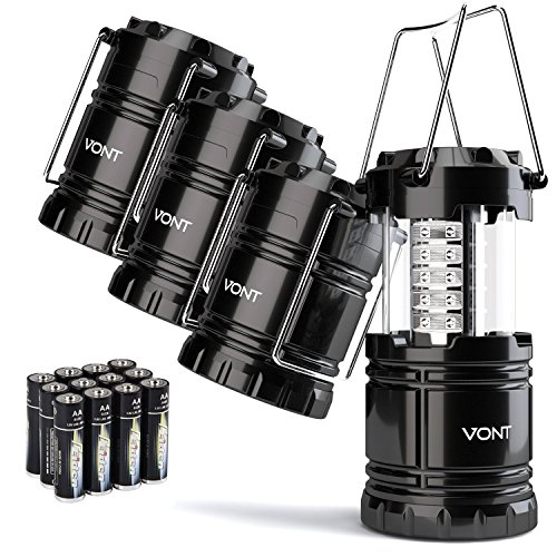 4 Pack LED Camping Lantern, Survival Kit for Hurricane, Emergency, Storm, Outages, Outdoor Portable Lantern, Black, Collapsible (Batteries Included) - Vont ()