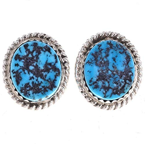 Navajo Turquoise Nugget Stud Earrings Silver Twist Wire Post Style 0004 ()