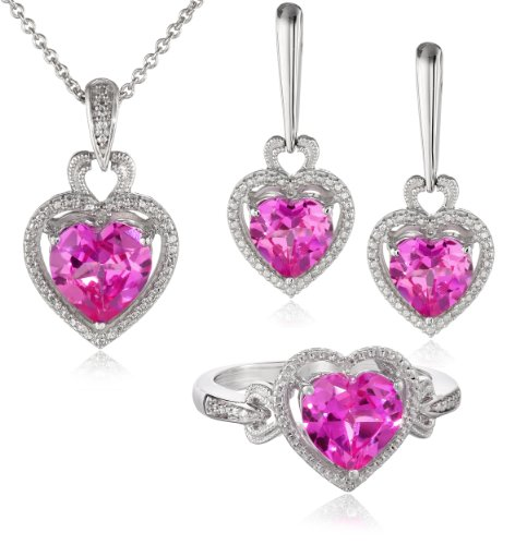 Sterling Silver Heart-Shape Created Pink Sapphire Diamond Ring, Earrings and Pendant Necklace Jewelry Set (Necklace 18
