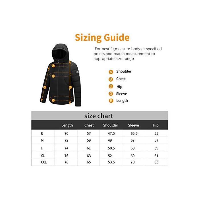 51osq0LH1VL Chaqueta con calefacción eléctrica con capucha: la chaqueta está hecha de algodón, poliéster y material impermeable, que puede ayudar a mantener el calor y evitar el agua y la lluvia. El tamaño de S a XXL es adecuado para casi todos, elija de acuerdo con la tabla de tallas. Grandes áreas de calefacción: el componente de calefacción de la chaqueta térmica está hecho de fibra de carbono importada y tiene grandes áreas de calefacción en la posición de la espalda y la nuca. Con tecnología de calefacción madura, esta chaqueta térmica puede calentarse rápidamente en climas extremadamente fríos. 3 Control de temperatura con calefacción: se pueden seleccionar tres temperaturas con solo presionar un botón en esta chaqueta cálida. Alta temperatura: color rojo (50 ° C), Temperatura media: color azul (40 ° C), Baja temperatura: color verde (30 ° C). El nivel de calentamiento ajustable lo hace ideal para la mayoría de las personas.