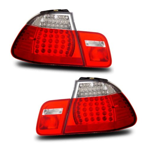 SPPC 4 Door L.E.D Taillights Red/Clear 4 Pcs Assembly Set For BMW 3 Series E46 - (Pair) Driver Left and Passenger Right Side Replacement