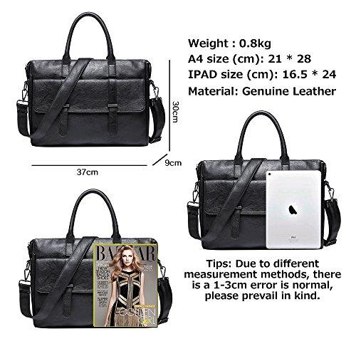 Computer Men's Leather b Genuine Shoulder Tote Vintage 2018 Bag 3110 Waterproof Oblique Black Jn Business RUqHO0w