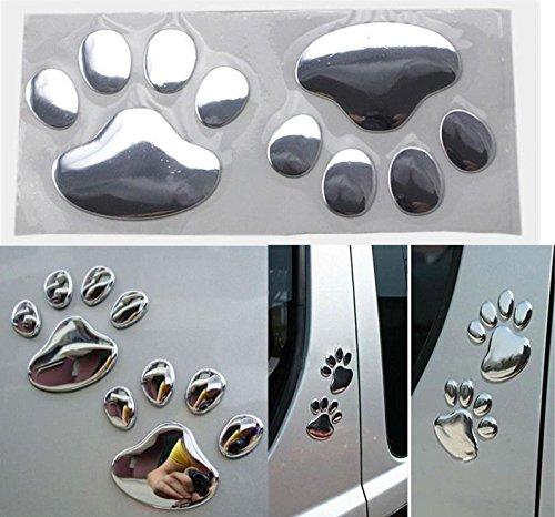 1 Pair Reliable Unique 3D Pets Paw Sticker Cat Emblem Dog Foot Prints Windows Badge Decals Decor Wall Vinyl Stickers Luggage Hoverboard Racing Decal Macbook Patches Colors Silver