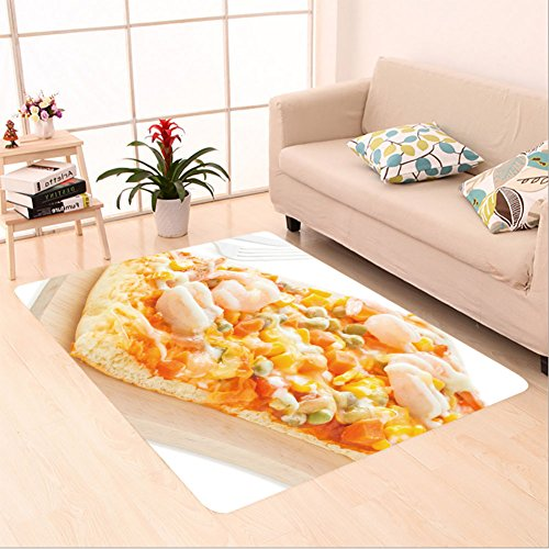 Homemade Pizza Slice Costume (Sophiehome skid Slip rubber back antibacterial  Area Rug homemade delicious fresh a slice of pizza on wooden plate ready to eat with isolated on white 448192027 Home Decorative)