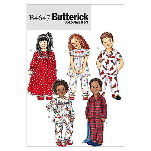 Butterick Patterns B4647 Toddlers'/Children's Nightgown, Pajama Top and Pants, Size CF (4-5-6)
